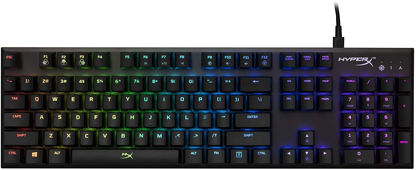 HyperX Alloy FPS RGB Kailh Silver USB充電ポート LEDバックライト HX-KB1SS2-US